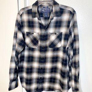 American Rag Grey Plaid Flannel Shirt L